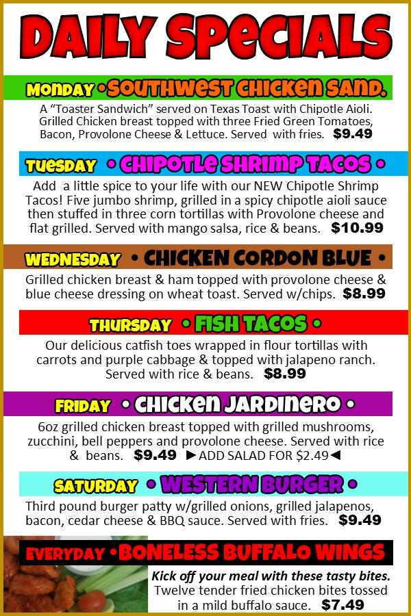 Daily Specials 2015